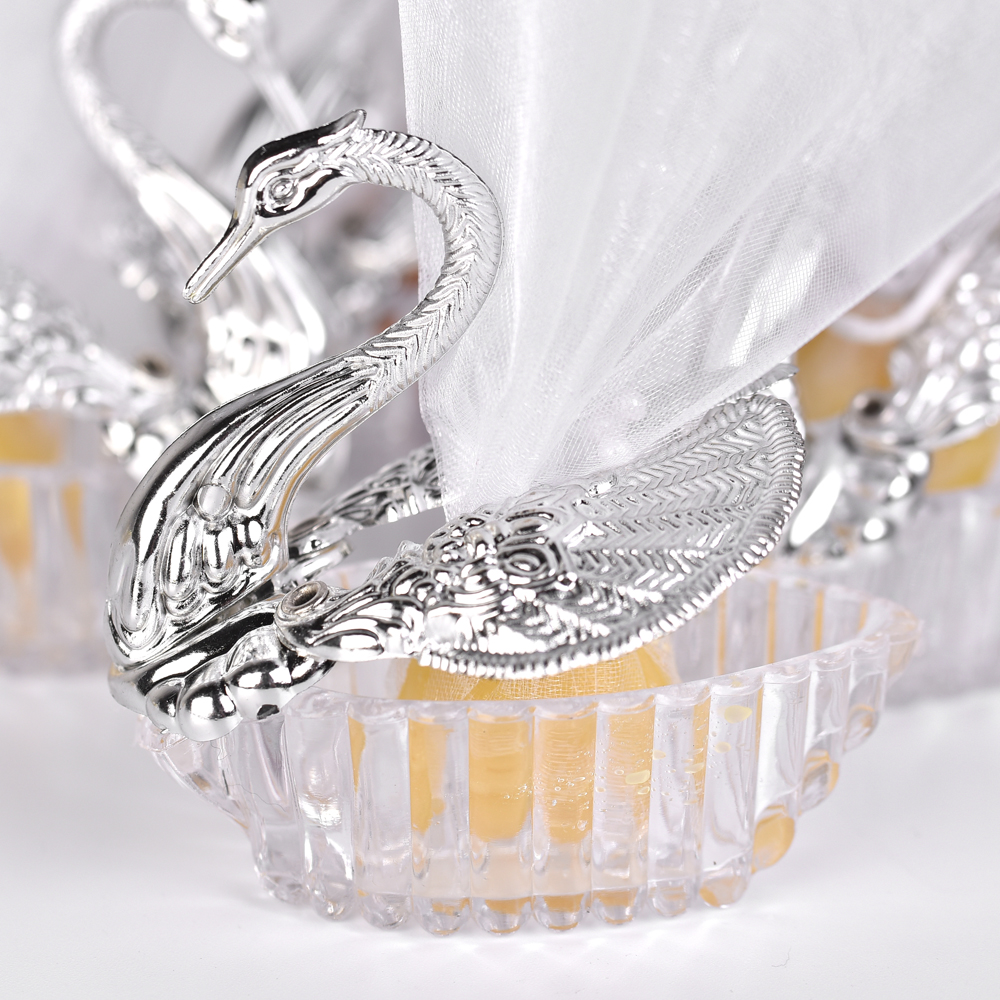 100 Pieces Acrylic Wedding Favor Swan Box Bomboniere Candy Box Gift ...