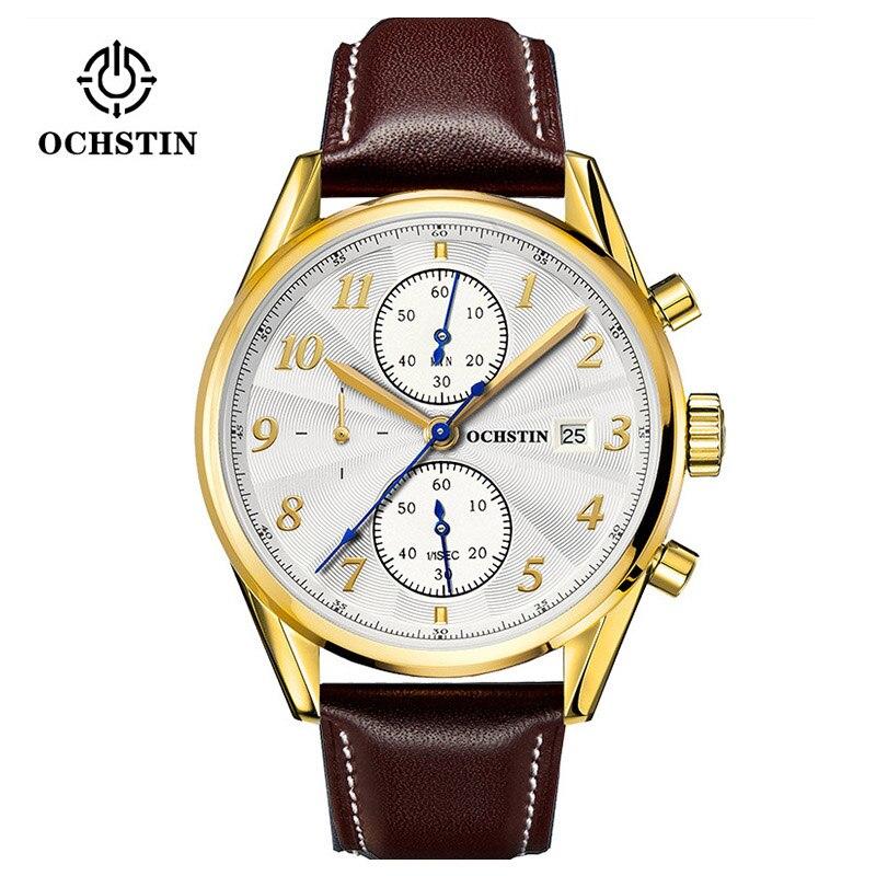 Switzerland Ochstin Watches Chronograph Men Watches Sports Quartz Watch Luxury Brand Watch Men 2016 Black Leather