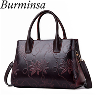 Burminsa Vintage Floral Printing Women Handbags Mom Gift Female Shoulder Bags Large Capacity PU Leather Ladies Messenger Bags