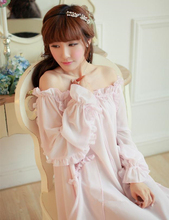 High quality girl pink nightgown Ankle-Length full nightdress Chiffon home cloth Sweet sexy dress European retro style sleepwear