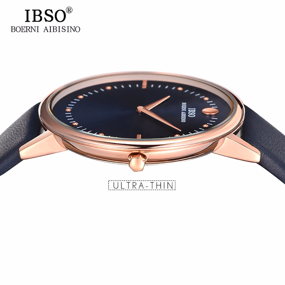 Image 3 - New IBSO Mens Fashion Watches 7.5MM Ultra Thin Rose Gold Watches Blue Leather Strap Analog Quartz Watches Relogio Masculino 1615Womens Watches   -