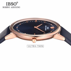 Image 3 - Novo ibso masculino relógios de moda 7.5mm ultra fino rosa ouro relógios pulseira de couro azul analógico quartzo relógios relogio masculino 1615