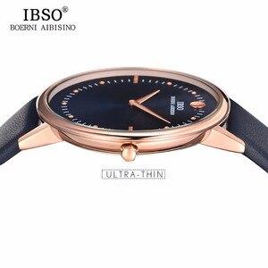 Image 3 - Nuovo IBSO Mens Moda Orologi 7.5 MM Ultra Sottile In Oro Rosa Orologi Blu Cinturino In Pelle Analogico Al Quarzo Orologi Relogio Masculino 1615