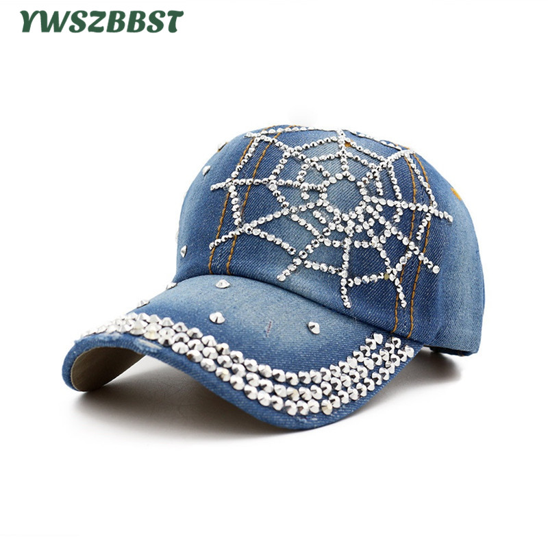 Summer Women Baseball Caps Diamond Tide Cowboy Hat Leisure Wild Summer Visor Cap Female Bone Snapback Hat Fashion Women Sun Cap gold embroidery crown baseball cap women summer cap snapback caps for women men lady s cotton hat bone summer ht51193 35