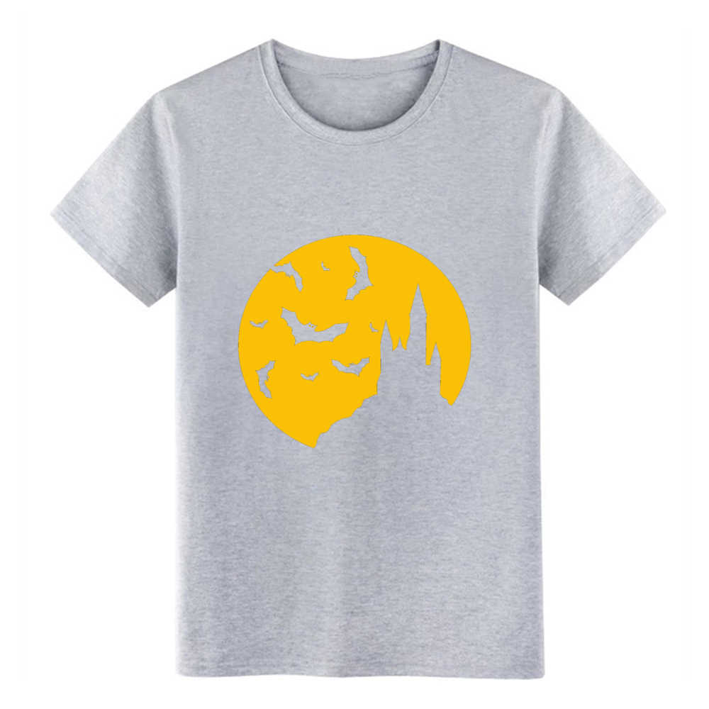 dracula castle  bats full moon horror vampir blood t shirt Design Short Sleeve Euro Size S-3xl cool Cute Building Spring shirt