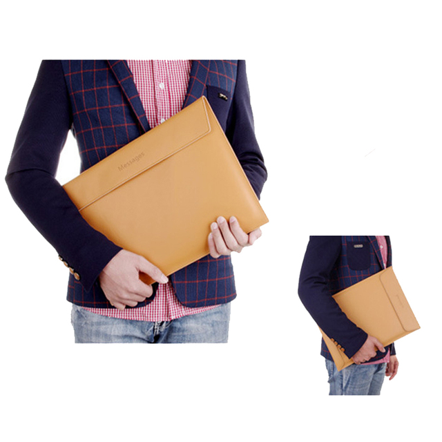 Genuine Leather Laptop Sleeve For Macbook Pro 13.3 15.4 Retina 13 15 Notebook PC Messenger Case Cover For Macbook Air 11.6 12