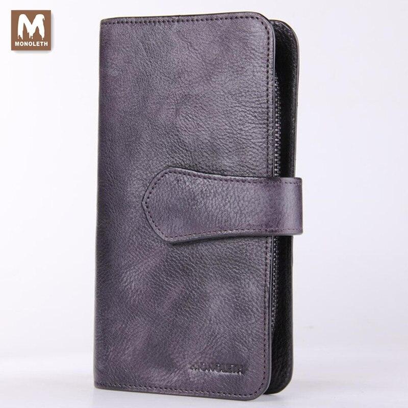 ФОТО MONOLETH Zipper & Hasp Men Clutch Bags Genuine Leather Wallet Men Clutch Bag Bifold Purse Mens Practical Long Wallet W4003