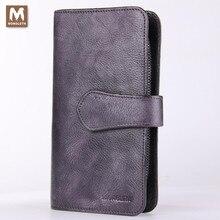 MONOLETH Zipper & Hasp Men Clutch Bags Genuine Leather Wallet Men Clutch Bag Bifold Purse Mens Practical Long Wallet W4003