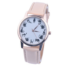 Louise Hot Sale Watch Woman 2016 Fashion Casaul Cat Pattern Leather Band Quartz Watches Women Freeshipping