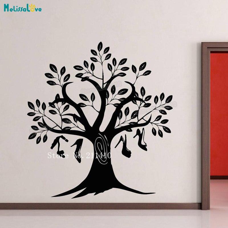 Nouveau stickers muraux arbre à chaussures papier peint autocollant décoration de la maison pour les filles salon auto-adhésif vinyle Art peintures murales cadeau YT193