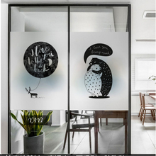 Frosted glass stickers Black and white bear Bathrooms balcony door windows electrostatic transparent opaque film