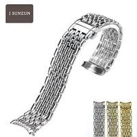 ISUNZUN ремешок из нержавеющей стали для Longines L4.860 металлические мужские и женские браслеты 13 мм 18 мм 20 мм Correas Para De Reloj Hombres