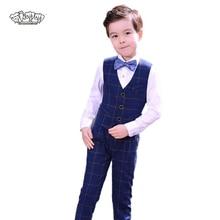 Boys Suits For Weddings Kids Prom Classic Costume Vest Pants Shirt Tie 4pcs