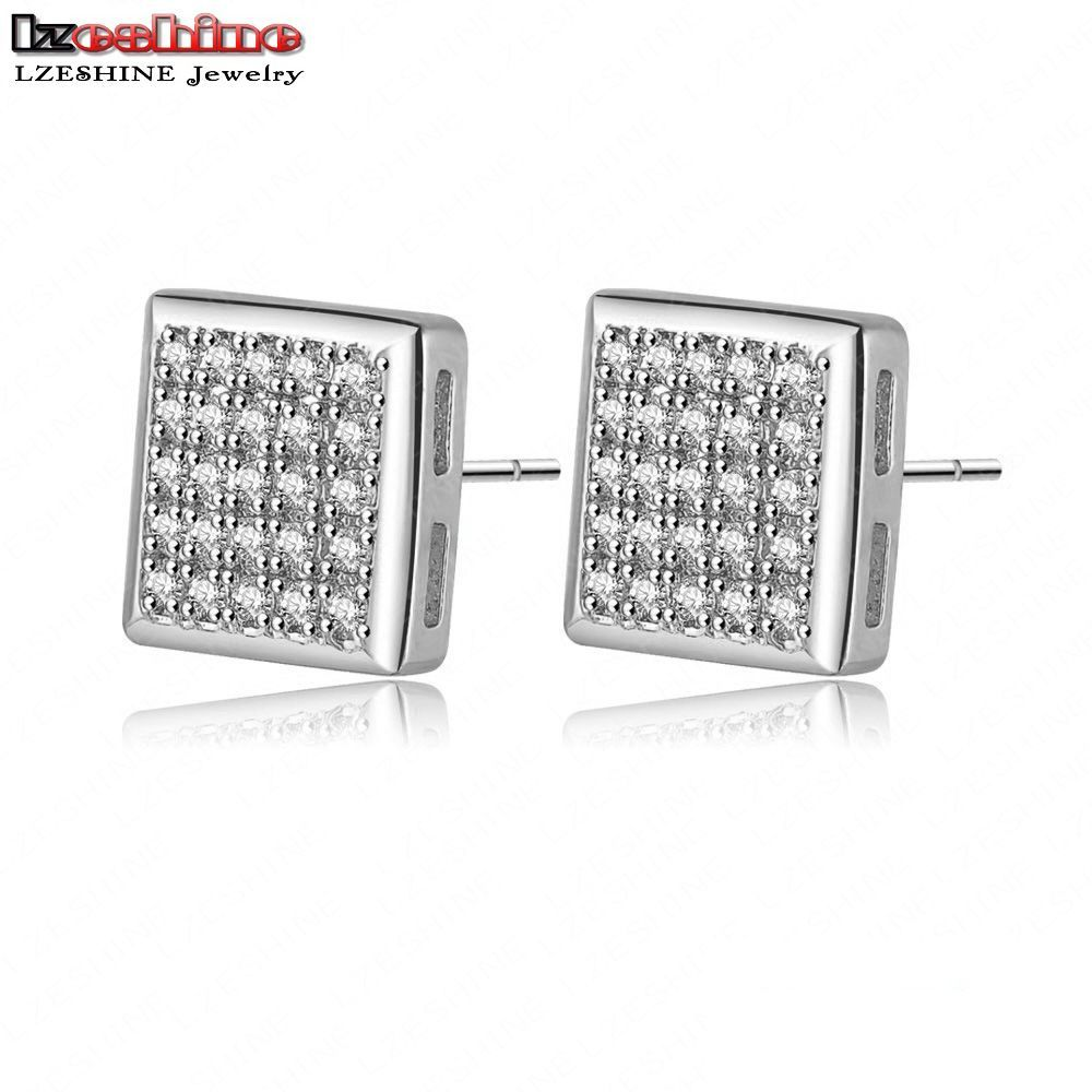 Silver Color Micro Inlay Aaa Cubic Zirconia  Earrings Stud Costume Jewelry Cer0107