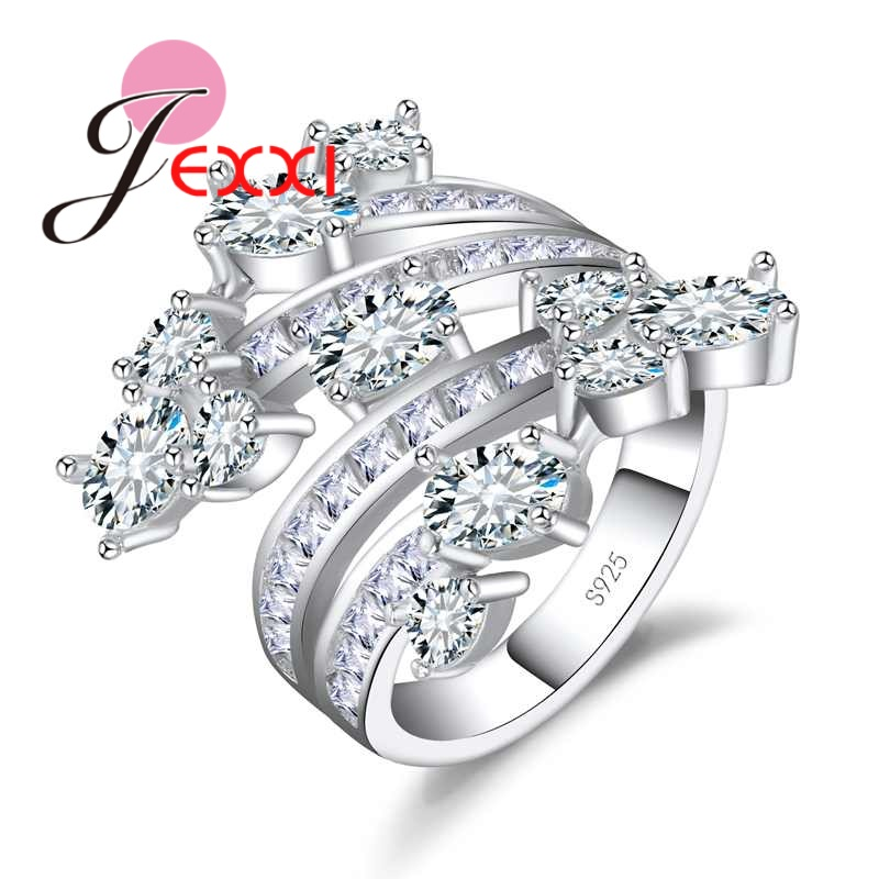 JEXXI Top Quality White Clear Cubic Zircon Leaf Ring for Women Christmas Gift Fashion 925 Sterling Silver Jewelry Hot Sale