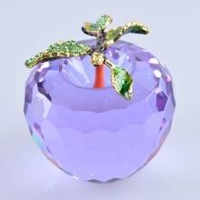 Большой фиолетовый яблоко кристалл пресс-папье украшения хрусталя фрукты 80 мм украшения