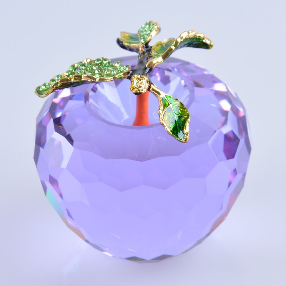 Big purple apple crystal paperweight decoration crystal glass fruit 80mm decoration