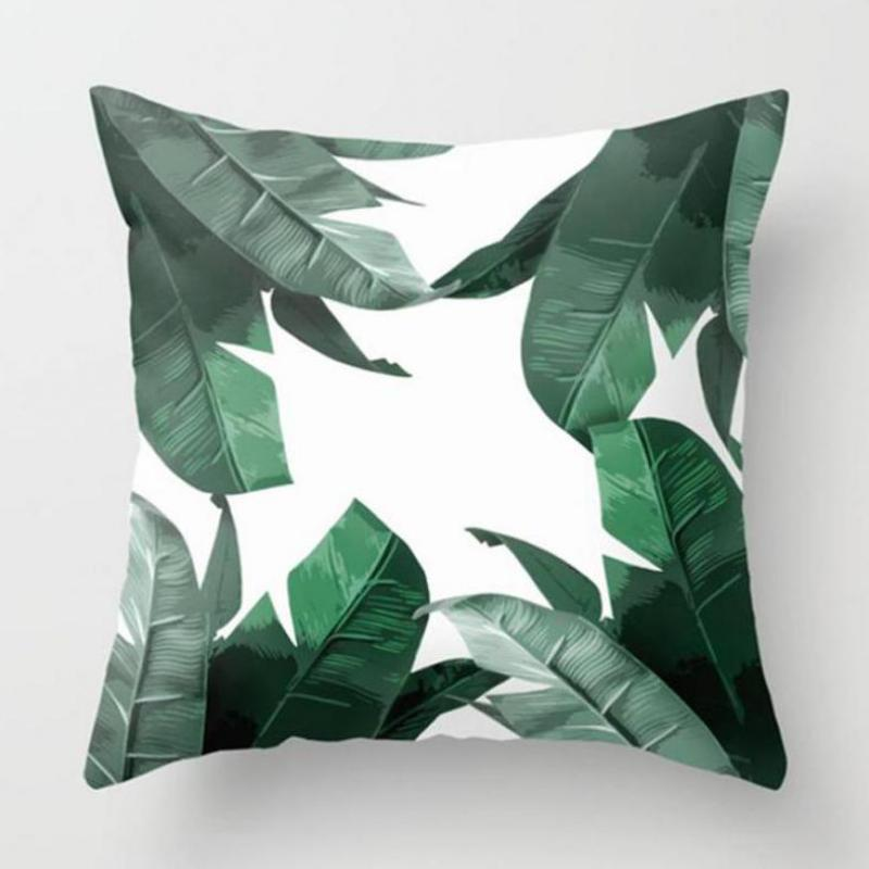 Green Plant Cushion Cover Artificial Tropical Palm Leaves Monstera Banana Leaf Wild Flow ...