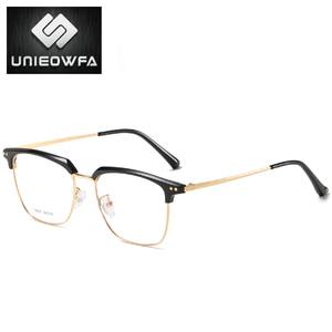 Image 4 - Unieowfa Semi Randloze Retro Optische Brilmontuur Mannen Clear Bijziendheid Bril Frame Koreaanse Vintage Prescription Brillen Frame