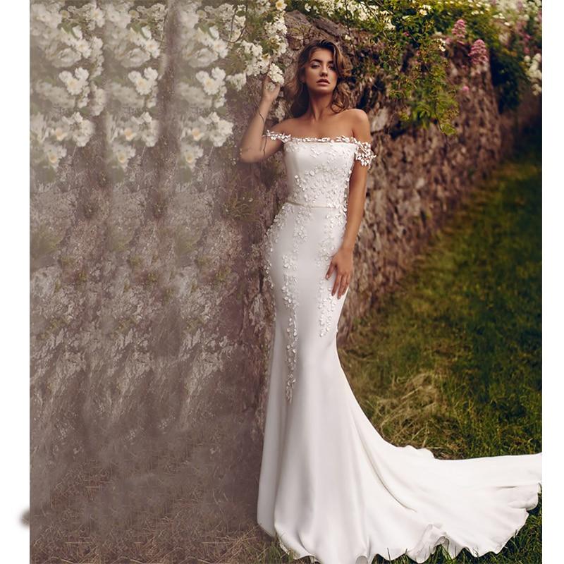 Verngo Mermaid Wedding Dress Ivory Flower Off The Shoulder Wedding Gowns Custom Size Strapless Bride Dress Vestido De Noiva