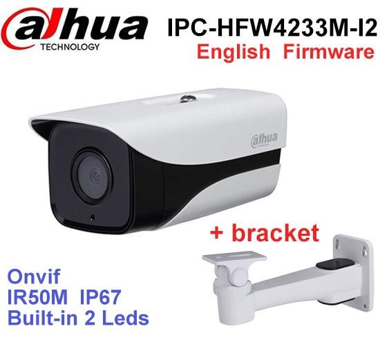 Dahua multi-language version IPC-HFW4233M-I2 Stellar network ip camera IP67 IR 80M DH-IPC-HFW4233M-I2 poe camera with bracket original dahua dh ipc ebw81200 12mp ultra hd metal waterproof shell ir network fisheye camera ip67 ipc ebw81200