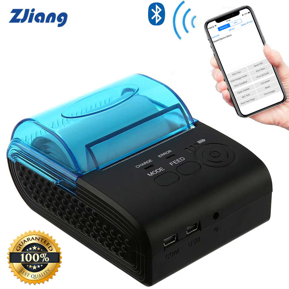 New Zjiang 58mm Bluetooth Thermal Printer mini Wireless Receipt Machine For Android, iOS and Windows Portable Printer brand new 90mm sec 203 203dpi 58hb 2 portable mini bluetooth wireless receipt thermal printer for android for windows a s0