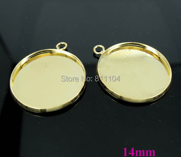 14mm New Gold tone Plated Blank Bases Circle Round Bezel w a loop Cabochon Settings Pendant Blank Findings Bulk Wholesale