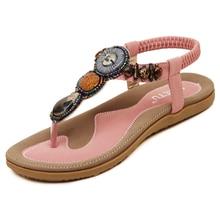 Size 4~14 Big Size Black Beading Sandals Women Shoes Khaki Rome Summer Women Flats Shoes sandalias mujer Plus Size 35-45