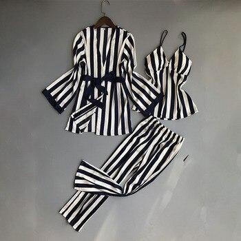 69870e08b497bfb Женский пижамный комплект из 3 предметов, атласная шелковая Домашняя ...