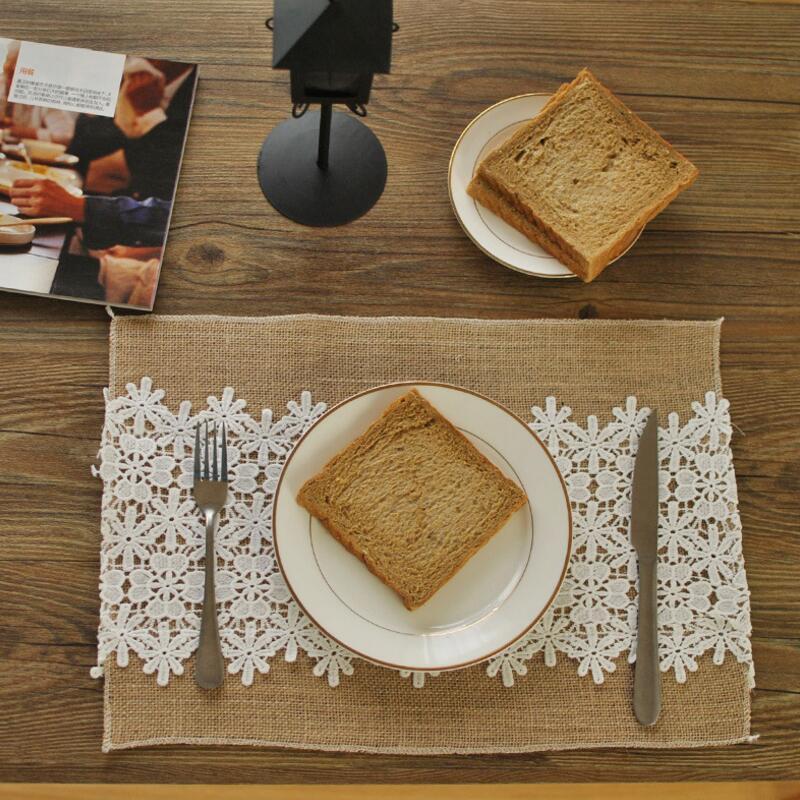 10pcs Lace Natural Jute Placemat Heat Insulation Burlap Table Mats Rustic Style Wedding Decoration Party Banquet Tableware Pads