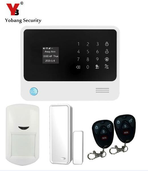 YobangSecurity Touch Screen GSM Wireless WIFI Home Alarm System Android IOS APP Control PIR Detector Door Sensor yobangsecurity gsm wifi burglar alarm system security home android ios app control wired siren pir door alarm sensor
