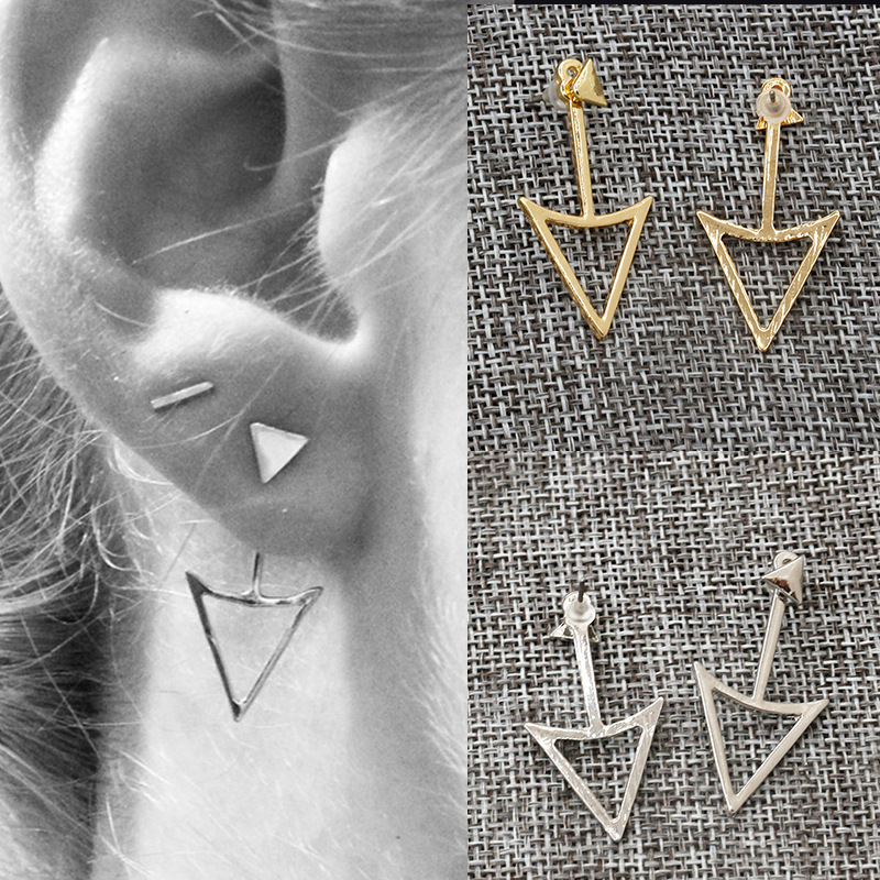 Gold Color Silver Triangle Stud Earrings For Women Double Hollow Statement  Charm Earring Fashion Jewelry Accessories 5a44f172860a