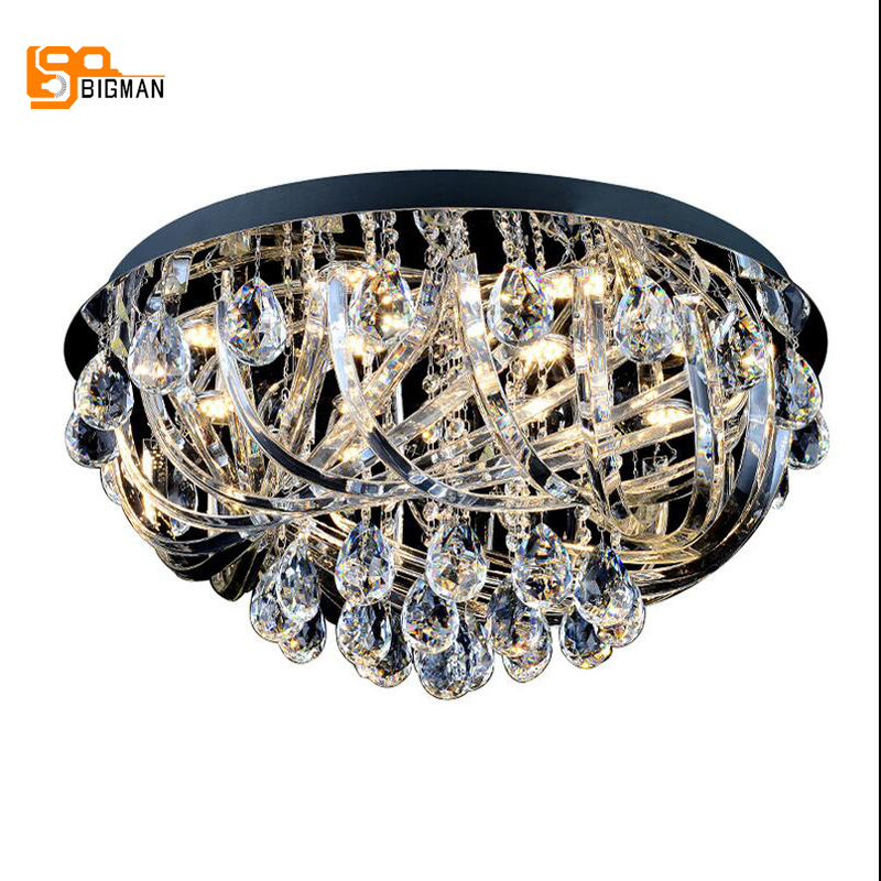 new luxury crystal chandeliers modern round LED light chandelier living room bedroom lamp new luxury modern crystal chandeliers led living room chandelier lighting fixtures gold plated hanging lights with glass shade