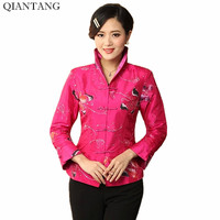 High Quality Purple Hot Pink Women Satin Jacket Traditional Chinese Embroidery Coat Mujer Chaqueta Size S