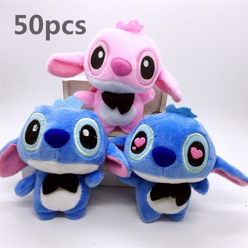 50pcs 10cm Kawaii LOVERS Stitch Plush Toys Stuffed Animals Pendant Toy Boy Girl Christmas   Birthday Gift