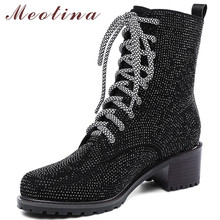 Meotina Genuine Leather Ankle Boots Women Luxury Rhinestone Square Heel Short Boots Cow Suede Zipper Shoes Lady Fall Size 34-39 esveva 2018 new zipper gray autumn women boots cow suede square med heel ankle boots buckle fashion motorcycle boots size 34 40