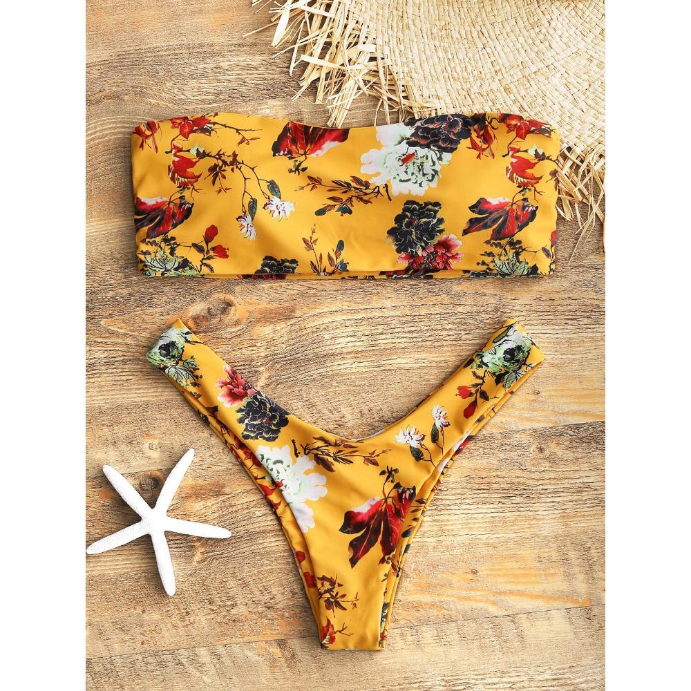 a36db6e157 ZAFUL Bikini Mustard Floral Bandeau Thong Bikini Set Padded Women s Swimsuit  Two Piece Swimwear Strapless Sexy Low Waist Biquni-in Bikinis Set from  Sports ...