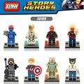 8 unids/set super hero captain america 3 winter soldier/negro panther/hyperion bloques de construcción conjunto de modelos de juguetes