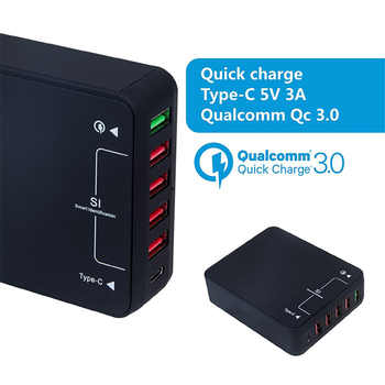USB Charger Station 6 Ports 5V/9V/12V Quick Charge QC 3.0+Type C USB Hub Power Adapter w/USB-C cable for iPhone Samsung Huawei