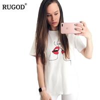 RUGOD White Sweet Kiss Print Harajuku T Shirt Women Casual Simple O Neck Short Sleeve Cotton