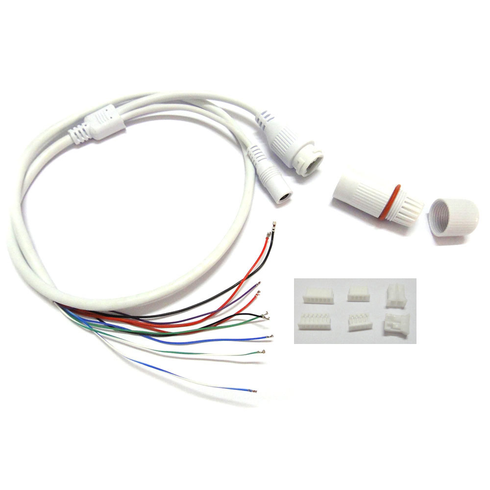 2pcs CCTV IP Network Camera PCB Module Weatherpoof Video Power Cable 60cm Long RJ45 Female & DC Male Connectors With Terminlas