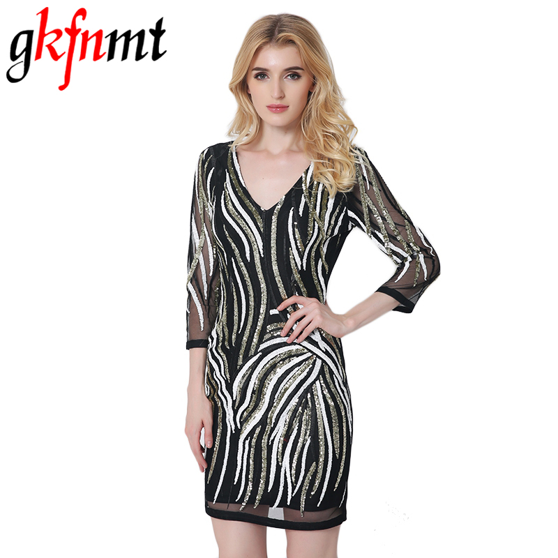 Buy Cheap gkfnmt Summer Style Party 3/4 Sleeve Sequin Dress Vestido Lentejuelas Femininos patchwork Ruched Sequin Nightclub Voile Dress