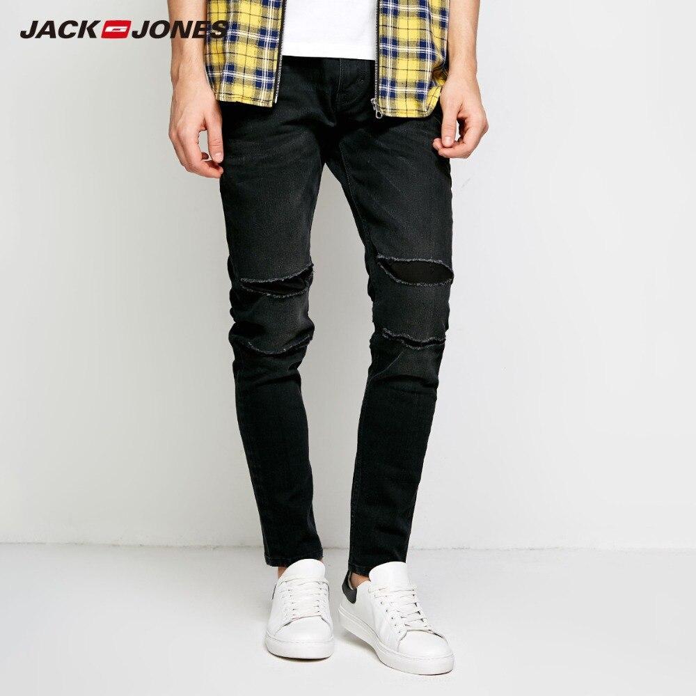 JackJones Для мужчин зимние рваные патч повседневные джинсы стрейч байкер Брюки Модные Классические мужские джинсы из денима узкие мужские джи...