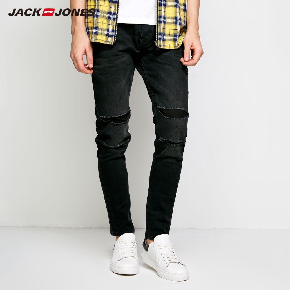JackJones Men's Winter Rips Patch Casual   Jeans   Stretch Biker Pants Fashion Classical Denim   Jeans   Men Slim Male   Jeans   J|218332523