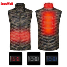 SNOWWOLF 2018 Double Control Upgraded Men Winter Outdoor USB Infrared Heating Vest Jacket Electric Thermal Clothing Waistcoat(China)