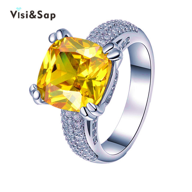 Visisap Brilliant Cut Yellow Cubic Zirconia Stone 6ct Ring Luxury Rings For Women Vintage Wedding Jewelry Gold color VSR178