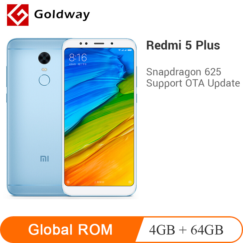 Original Xiaomi Redmi 5 Plus ROM 4GB RAM 64GB Snapdragon 625 Octa Core 5.99″ 18:9 Full Screen 4000mAh 12.0MP Camera Smartphone