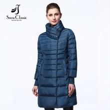 SnowClassic 2017 новые зимняя куртка женщин Пальто Женщин Теплая Куртка тонкий толстые Пиджаки Пуховики бесплатный шарф 17147