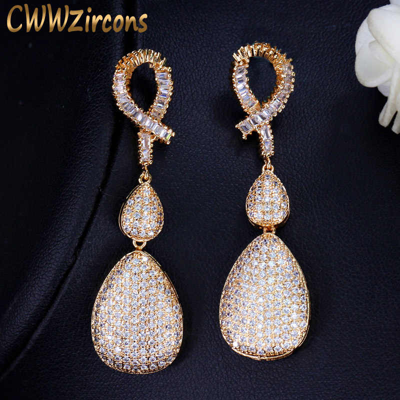 CWWZircons Quality Wedding Evening Dubai Gold Jewelry Micro Pave Cubic Zirconia Stones Long Drop Golden Earrings For Women CZ120