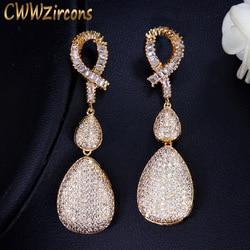 CWWZircons, качественные Свадебные вечерние золотые ювелирные изделия из Дубаи, микро проложенные кубическим цирконием камни, длинные золотые с...